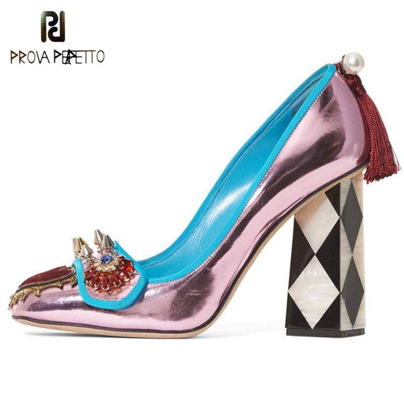 Prova Perfetto New Design Crystal Rivets Women High Heels Shoes Woman  Formal Prom Wedding Square Toe Tassles Ladies f483cab8cfef