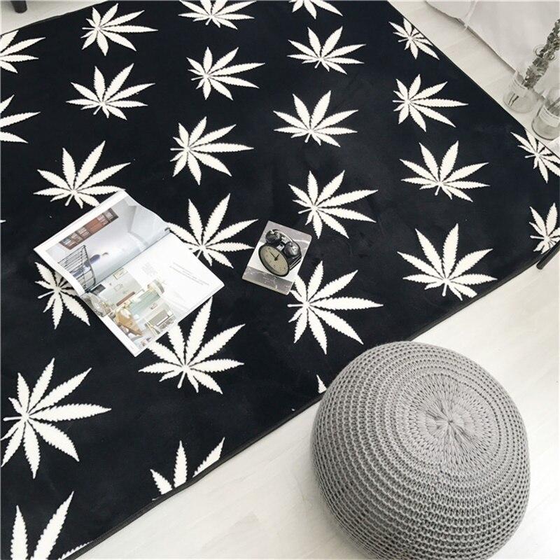Mode noir blanc feuille flèche salon chambre décoratif tapis zone tapis salle de bain cuisine pied porte Yoga bébé tapis de jeu - 3