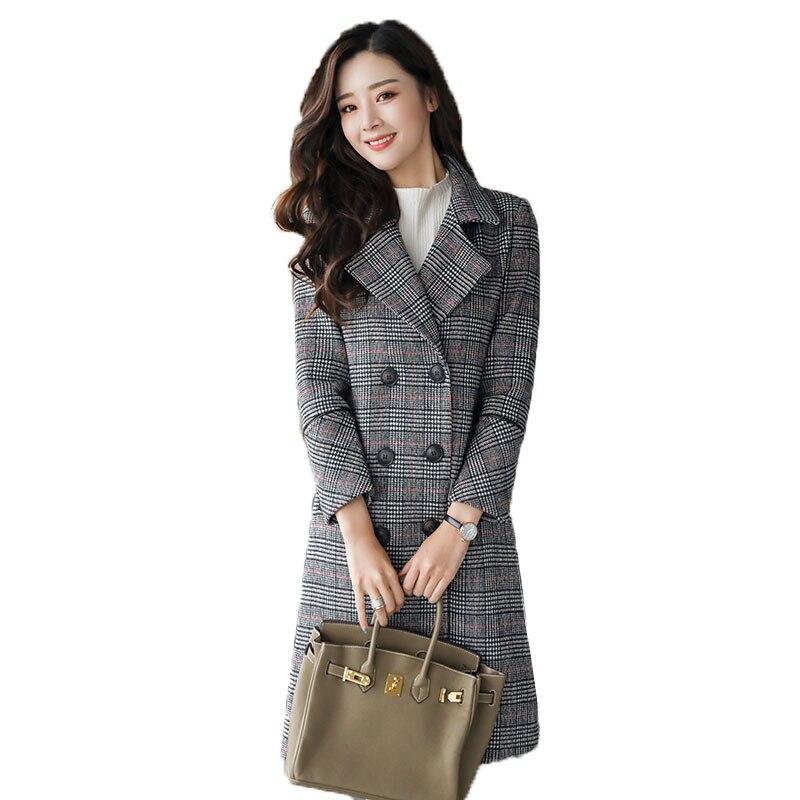 High quality Korean New women Slim Suitable slim Tartan coat 2018Female Medium and long section elegant temperament Houndstooth