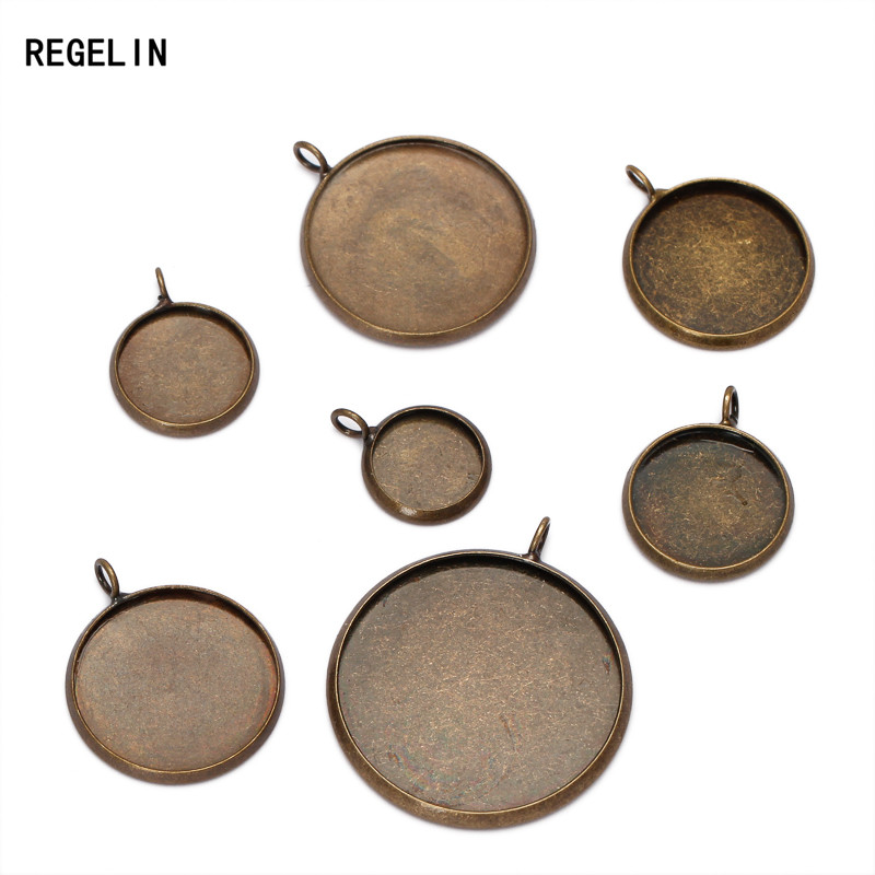 REGELIN 10pcs Antique Bronze Pendant Blank Jewelry Connectors With Inner 10/12/14/16/18/20/25mm Circle Tray For Cameo Cabochons