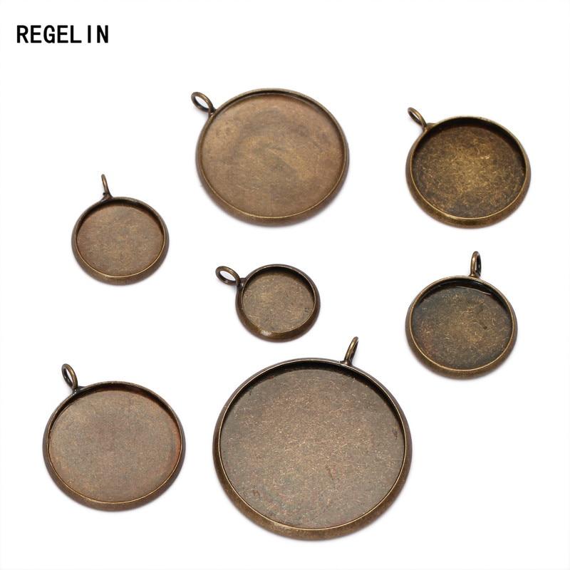 REGELIN 10 pièces Bronze Antique Pendentif Blanc Bijoux Connecteurs avec intérieur 10/12/14/16/18/20/25mm Plateau Circulaire pour Camée Cabochons