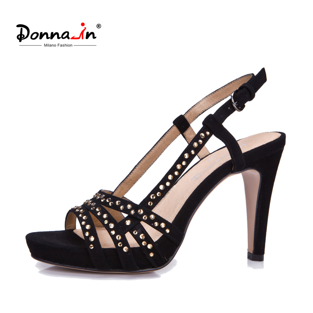 Donna-in Women Genuine Leather Sandals Platform Thin High Heels Pumps Ladies Shoes Cross Strap Diamond 2018 Summer For Female donna in 2018 women genuine leather slipper platform high heels sandals ladies shoes thick heel casual slippers fashion styles