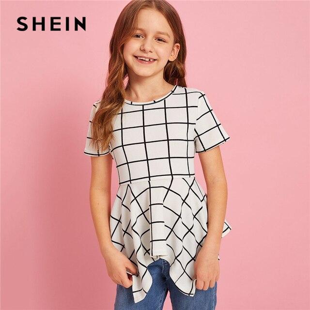 SHEIN Kiddie/белая клетчатая Повседневная Блузка с асимметричным подолом для девочек детские топы 2019 года, летняя детская блузка с коротким рукавом и оборками на молнии сзади