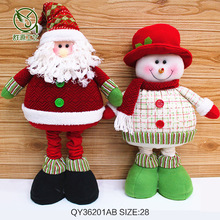 1PCS  Big Snowman Santa Claus with Telescopic Rod Manul Cloth red hat winter christmas gift decor kids children favorite 70*28cm