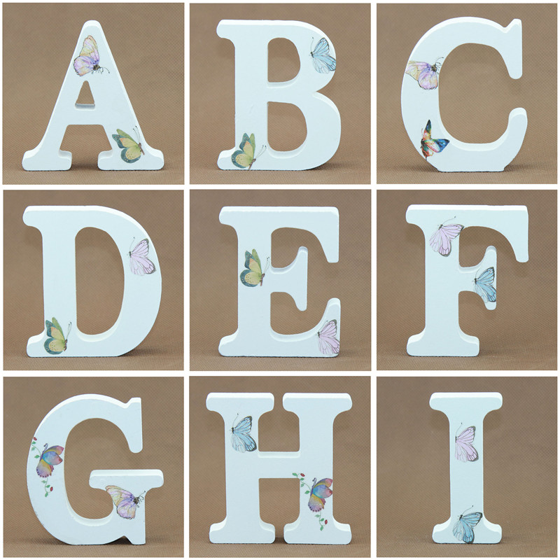 1pcs 10X10CM White Wooden Letters English Alphabet Word Stat Name Design Party Birthday Craft Party Wedding Wood Letters DIY