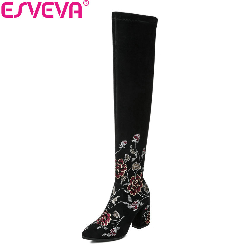 ESVEVA 2018 Women Boots Shoes Slim Look Cow Suede Square High Heels Shoes Embroidery Round Toe Over The Knee Boots Size 34-39 metal rustic edison pendant light fixtures restaurant loft style lampe vintage industrial lighting retro lamp lamparas colgantes