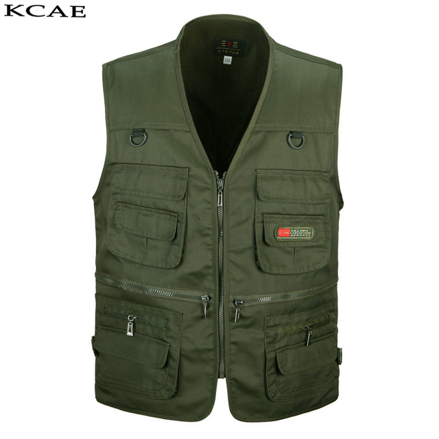 Black Photography Vest Mens Field Work Waterproof Mesh Travel Vest With Many Pockets Sleeveless Jacket Red Green