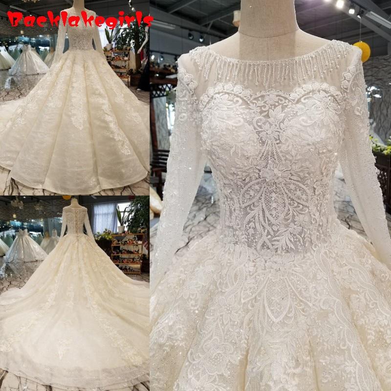 05550 Vintage Langarm Sexy Luxus Muslim Brautkleider 2018 Appliques Perlen High-end-prinzessin Stil Brautkleider