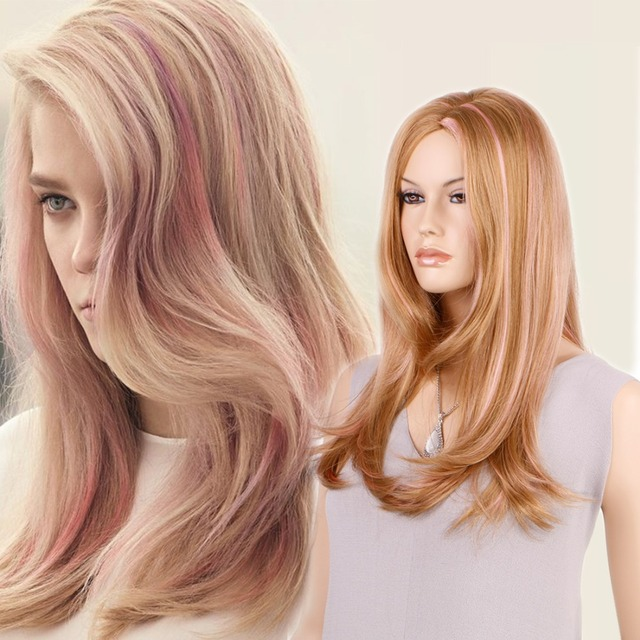 Pink Highlight Brown Synthetic Hair Long Nice Natrual Wavy Synthetic