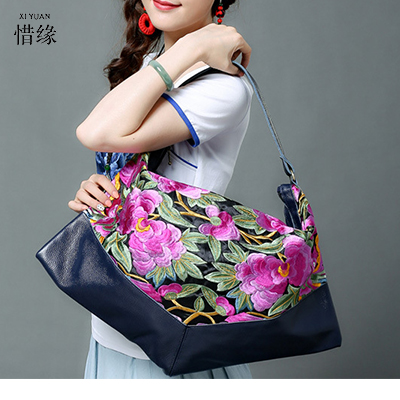 XIYUAN BRAND 2017 new national trend embroidered bags handmade flower embroidery ethnic leather shoulder hand bag handbags blue