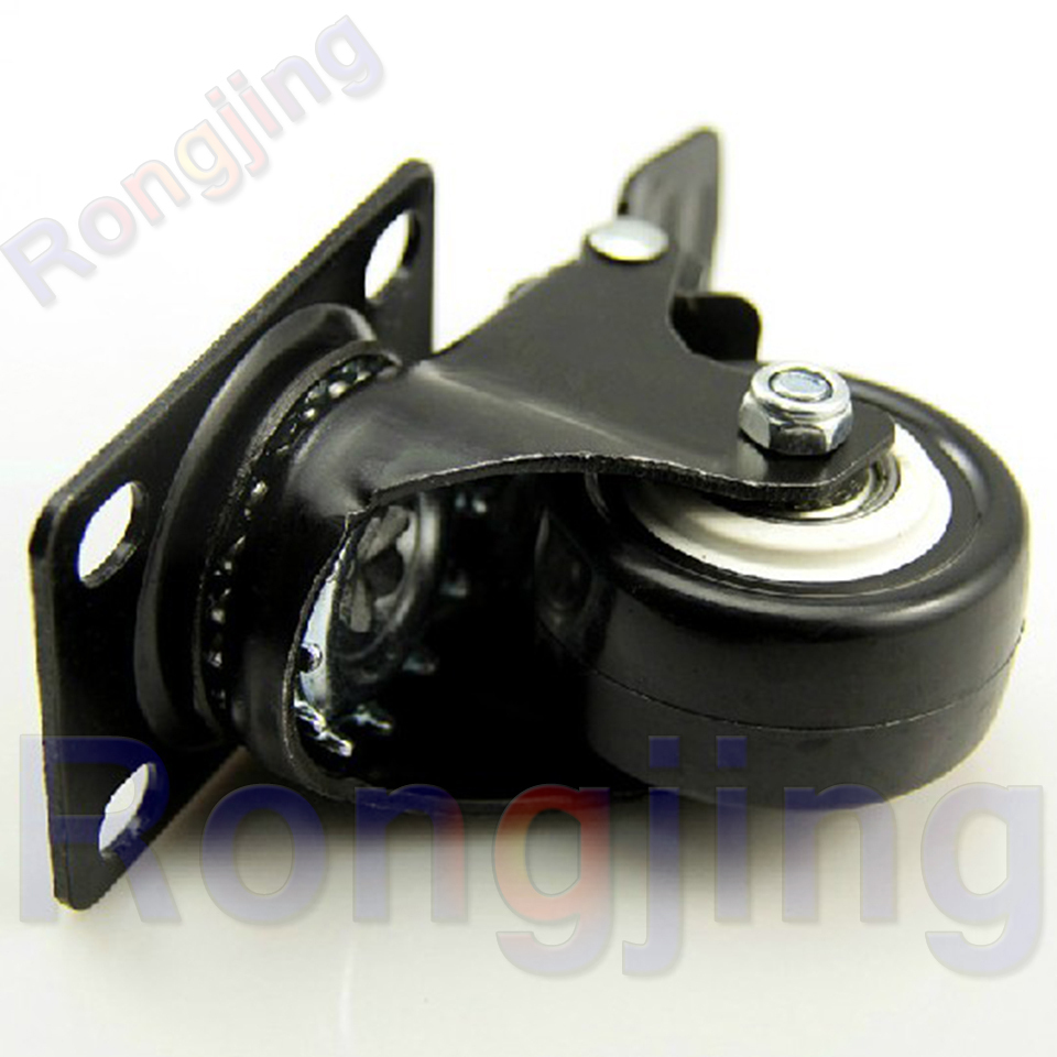 New 2'' Double Bearing With Brake Furniture Universal Caster Durable PU Rolling Swivel Castors M10 Screw Type Chair Fast Pulley