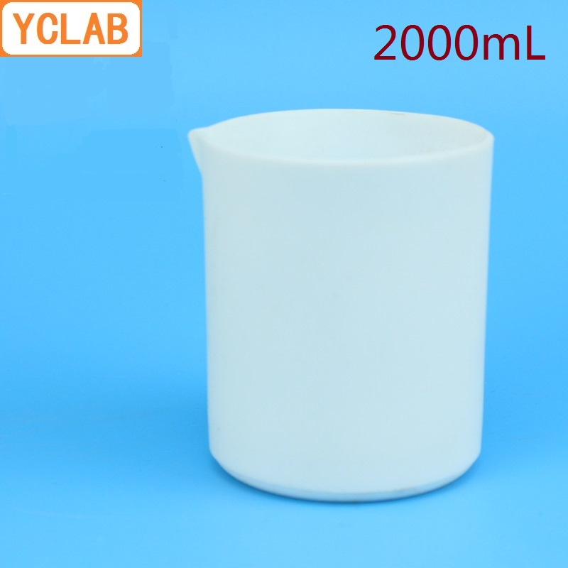 Bécher YCLAB 2000 mL PTFE forme basse avec bec 2L Poly tétra fluoroéthylène plastique F4 téflon équipement de chimie de laboratoire
