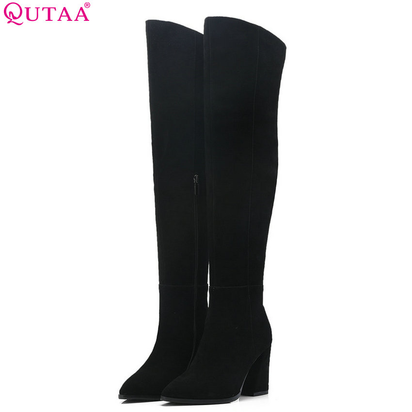 QUTAA 2019 Flock Women Shoes Platform Women Over The Knee High Oots Square High Heel Pointed Toe Women Boots Big Size 34-40