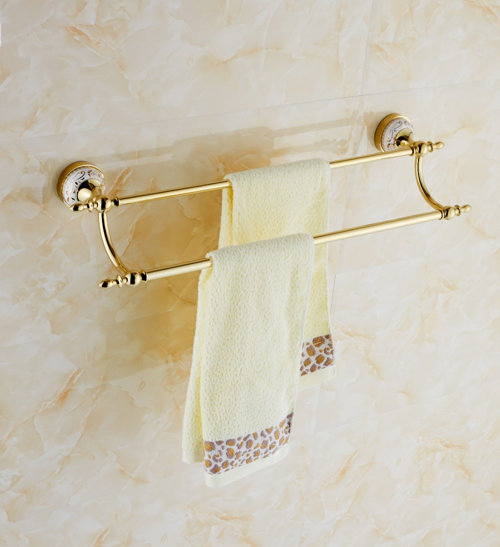 Modern Style Wall Mounted Gold Brass Bathroom Towel Rack