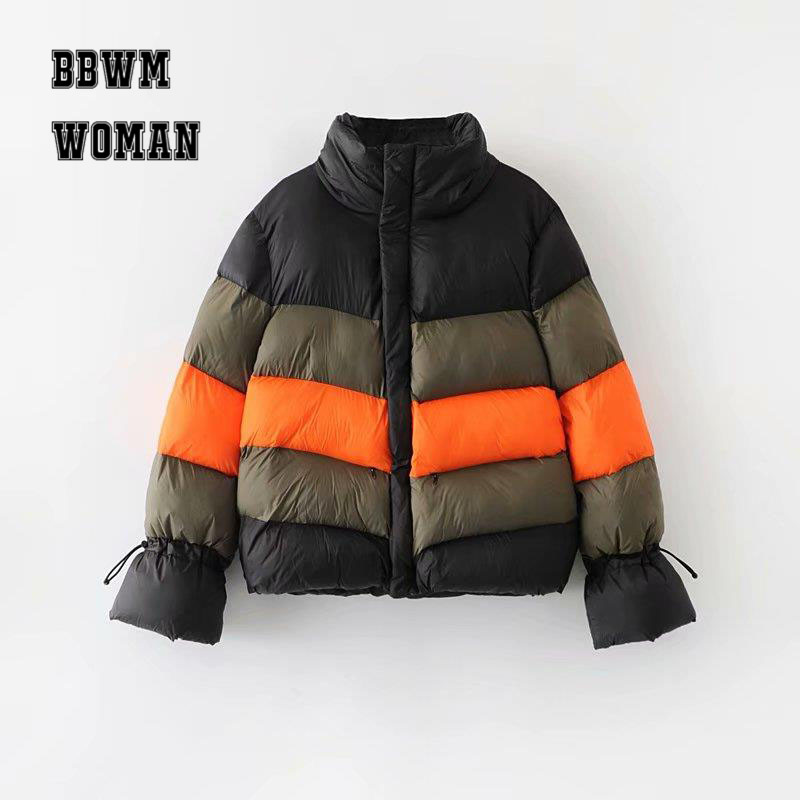 Contrast Color Down Padded Women Jacket Bread Style 2018 Winter Warm Long Sleeve Candy Color   Parkas   Coat ZO1808