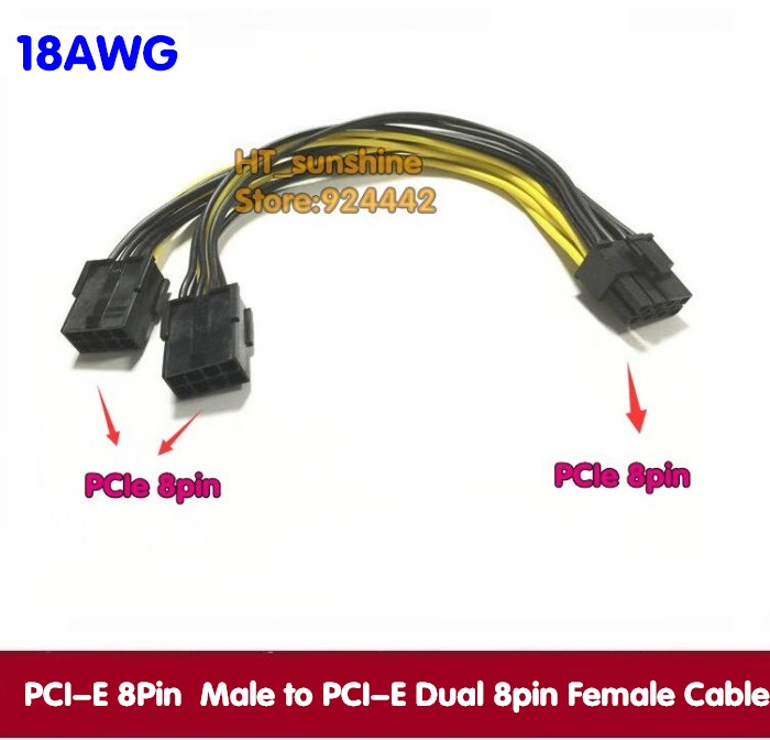 DHL /EMS Free Shipping PCI-E 8 Pin 8P Male to PCI Express Dual Double 2-Port 8Pin Female GPU Video Card Power Cable 18AWG gpu 8pin female to dual pci e pci express 8p 6 2 pin male power cable 18awg wire for graphics video card btc miner 30cm