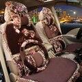 Del cordón del Bowknot florecido imprimir automóvil cubierta de asiento de coche cojín de peluche 7 unids - café