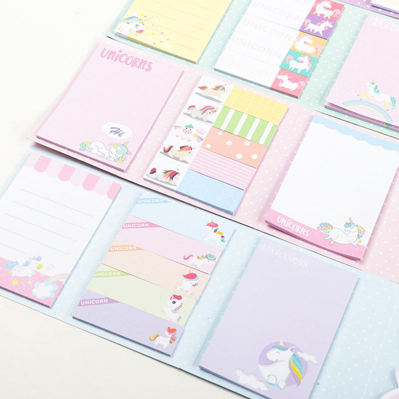 Cute Unicorn Memo Pad Kawaii 6 Folding Paper Sticky Notes Planner Stickers Writing Pads Korean Stationery Office School Supplies