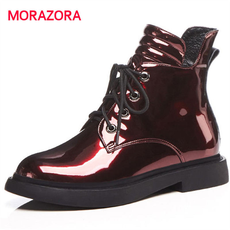 MORAZORA 2018 new fashion autumn winter zipper genuine leather boots round toe square heel ankle boots for women med heel boots