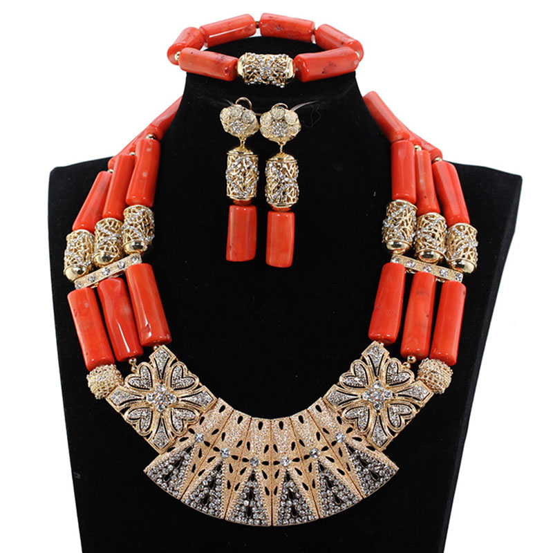 NEW Red orange Metallic crystal element nigerian costume beads necklaces corals african costume jewelry set high quality JB153 цена 2017
