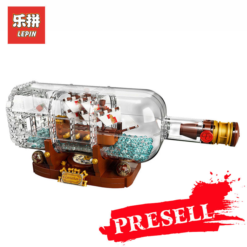 Lepin 16051 Creative Pirates of the Caribbean Pirates Series LegoINGly 21313 bottles in the boat Mode Building Blocks Bricks toy lepin 16051 toys 1078pcs ship in a bottle legoingly 21313 sets building nano blocks bricks funny toys for kids birthday gifts