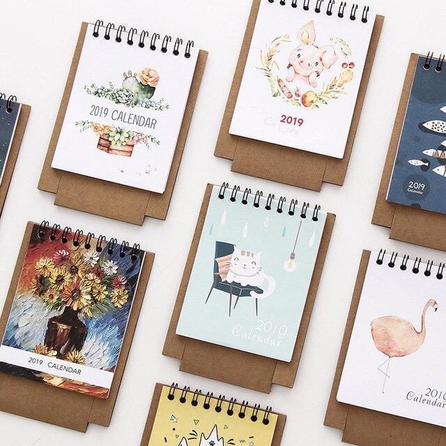 Mini Calendario.1 0 15 De Descuento 2019 Estilo Fresco Diy Animales Gato Flamenco Mini Calendario De Papel De Escritorio Doble Diario Planificador De Mesa