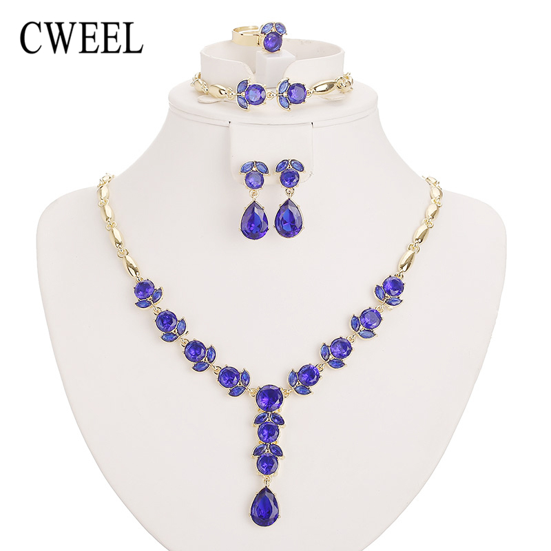 CWEEL New Fashion Jewelry Sets For Women African Beads Party Imitated Crystal Pendant Necklace Earrings Wedding Accessories viennois new blue crystal fashion rhinestone pendant earrings ring bracelet and long necklace sets for women jewelry sets