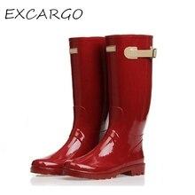 Женские модные резиновые сапоги до колена Модные мотоциклетные женские ботинки красного цвета резиновая обувь