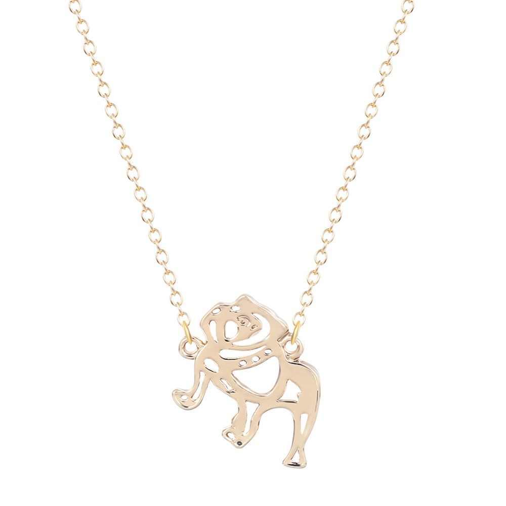 Bulldog สัตว์ Charm สร้อยคอจี้ Collares สัตว์น่ารัก Hollow Out Gold เครื่องประดับของขวัญสร้อยคอสำหรับหญิง