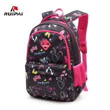 RUIPAI Fashion Floral Patterned School Bags Rose Red Schoolbag Backpacks for Girls and Boys Light Mochila Kids Baby Bags
