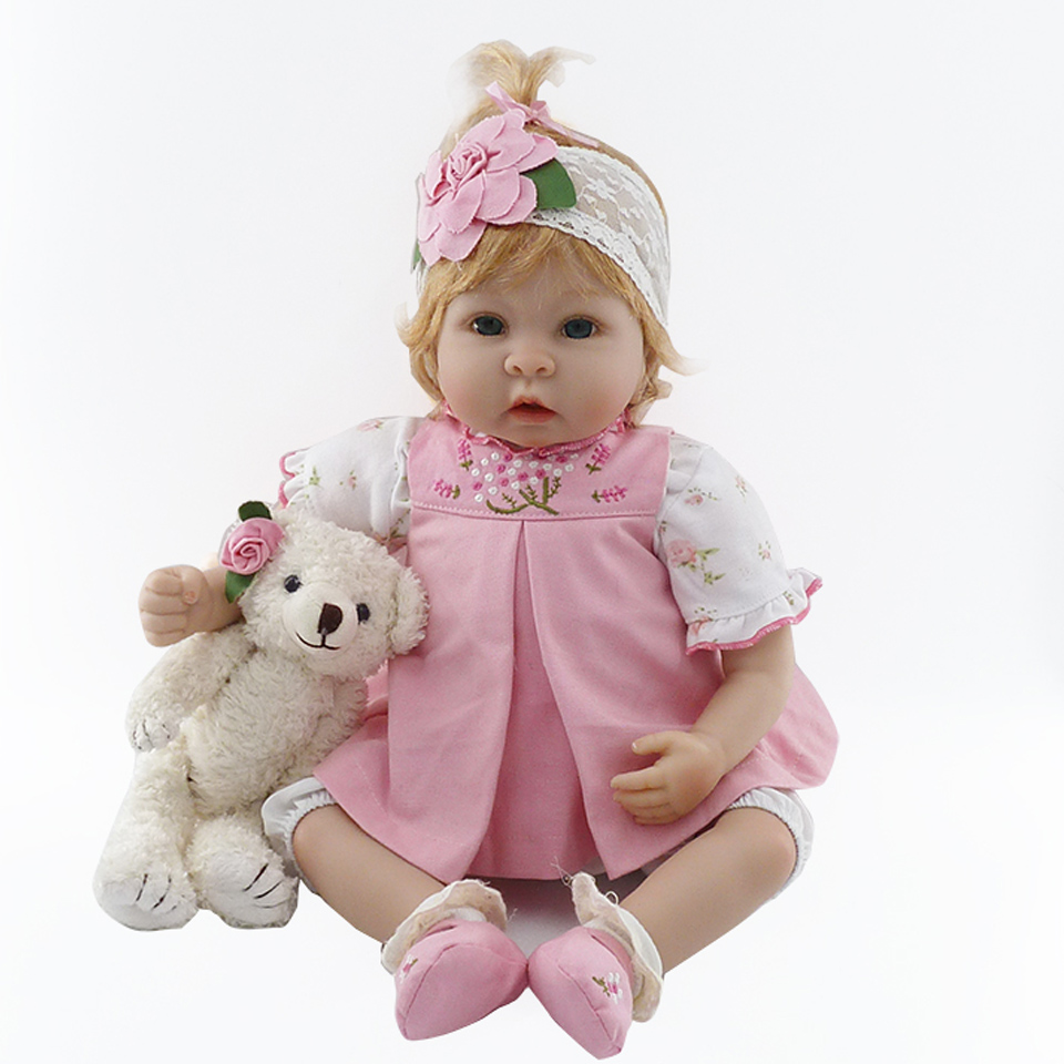 2017 Reborn Baby Girl Realistic 22 Inch Ethnic Princess Dolls Soft Silicone Baby Dolls Bear Toy As Reborn Kids Birthday Gifts