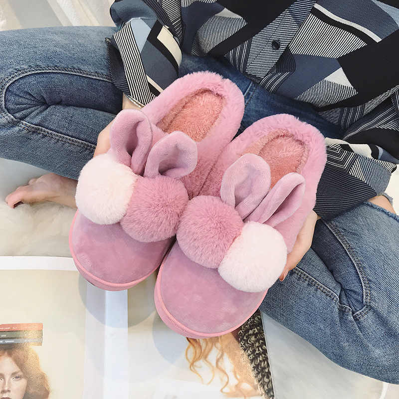Winter Home Slippers Women Warm Cotton Rabbit Fabric Slipper Indoor Mute Non-slip Rabbit Ears Flat Women Shoes Fur Slides