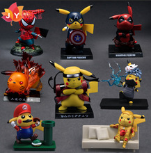 8-10cm Pikachu Cosplay Naruto Deadpool Spiderman Captain America Pvc Action Figure Collection Model Toys For Kids Gifts 24cm pvc deadpool action figure breaking the fourth wall scene dead pool kids birthday christmas model gift toys