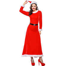 2019 new Santa Claus costume red elegant Christmas waist dress Christmas costume one size