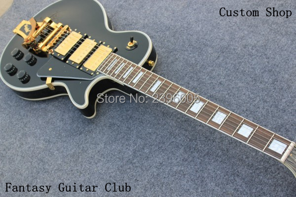 Custom Shop,lp 1960s version shipping free LP Custom electric Guitar.black color golden hardware 3 pickups Bigsby Tremolo Bridge
