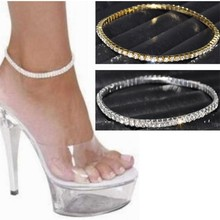 1Row Clear Crystal tennis Silver Gold Stretch Anklet Foot chain leg bracelet