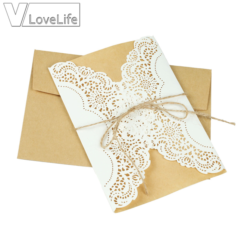 1pc Vintage Wedding Invitations Laser Cutting Invitation
