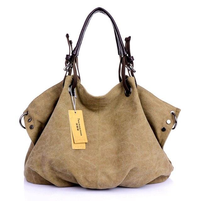 Women Canvas Messenger Bags Female Crossbody Bags Solid Shoulder Bag Fashion Casual Designer Handbag Large Capacity Tote