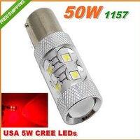 Free Shipping 2pcs Hot CREE 50W 1157 BAY15D P21 5W CREE LED Brake Lamp Car Wedge