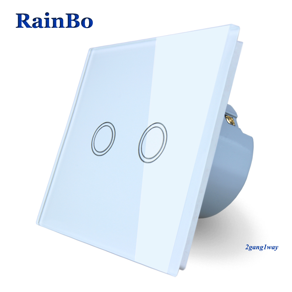RainBo Brand New Crystal Glass Panel wall switch EU Standard 110~250V Touch Switch Screen Wall Light Switch 2gang1way A1921XW/B brand new mts 6000 touch screen glass well tested working three months warranty