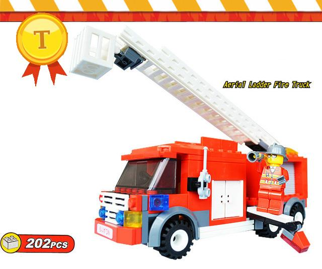 Kids educational toys fire fighting truntable ladder truck building block fireman mini blocks compatible pokemon go city