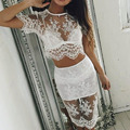 Semi Sheer Sexy Beach Women Shirt Lace Shirts Blouses Summer Embroidery Floral Crochet Knitted Tops Hollow out Blusas Dress Y3