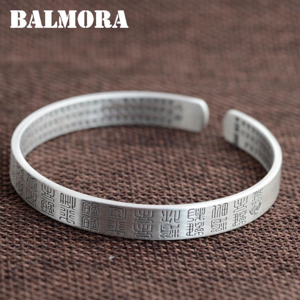 BALMORA 999 Puur Zilver Boeddhistische Hart Sutra Open Bangles voor Vrouwen Mannen Gift Religieuze Sieraden ongeveer 18 cm Armband SZ0219-in Armring van Sieraden & accessoires op  Groep 1