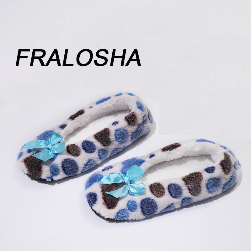 (Ship from US)FRALOSHA Winter Women Cotton Shoes Warm Plush Butterfly-knot Indoor Shoes Non-slip Soft Bottom home Floor Slipper цена