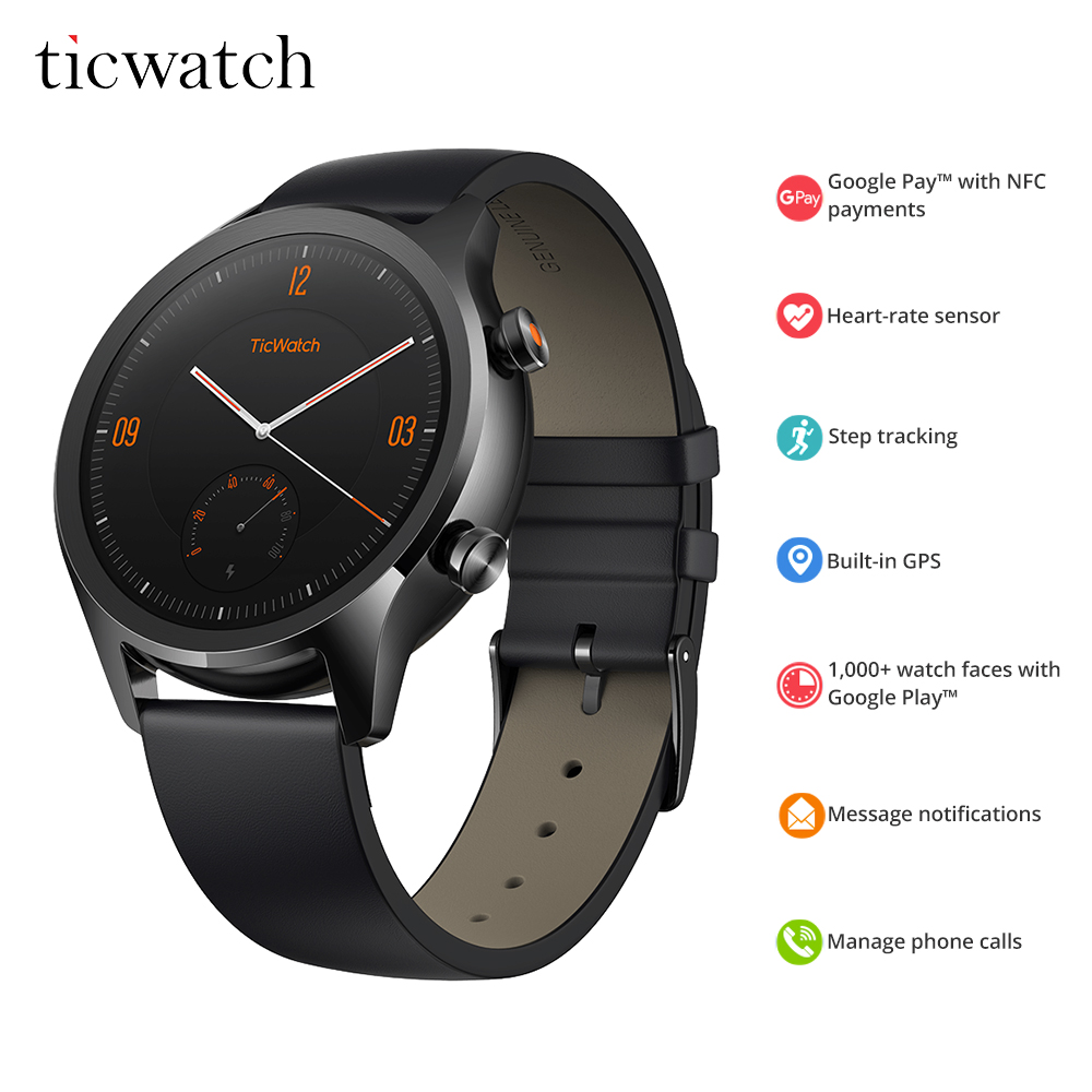 US $186 56 25% OFF|Ticwatch C2 Smartwatch Android Wear OS Built in GPS  Heart Rate Monitor Fitness Tracker Google Pay 400mAh 1 1 5 days 1 3''  AMOLED-in