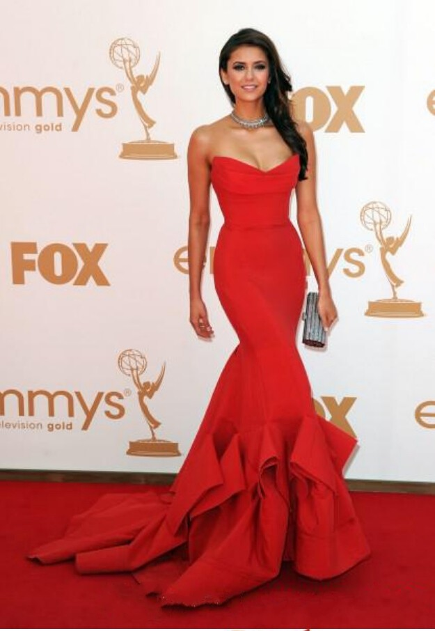 Nina Dobrev Red Carpet   Dress   Emmy Awards Party Formal Celebrity With Strapless Ruffles Backless Mermaid   bridesmaid     dresses