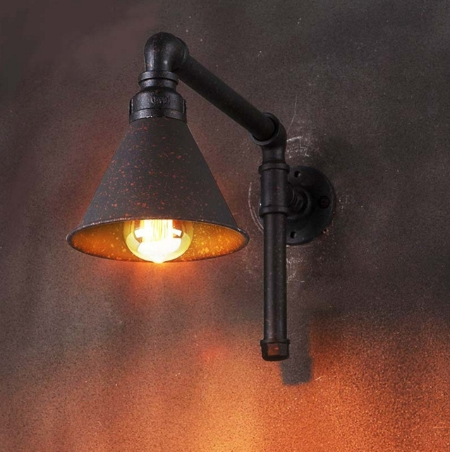 Loft Industrial Wall Lamp Sconce Vintage Water Pipe Wall Light  Antique E27 Edison Bulbs For Living Room Home Lighting Fixture