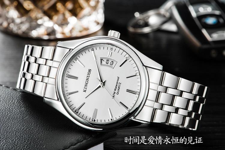 Kingnuos Tops Luxury Brand Men Full Stainless Steel Business Watches Men's Quartz Date Clock Men Wrist Watch relogio masculino 8