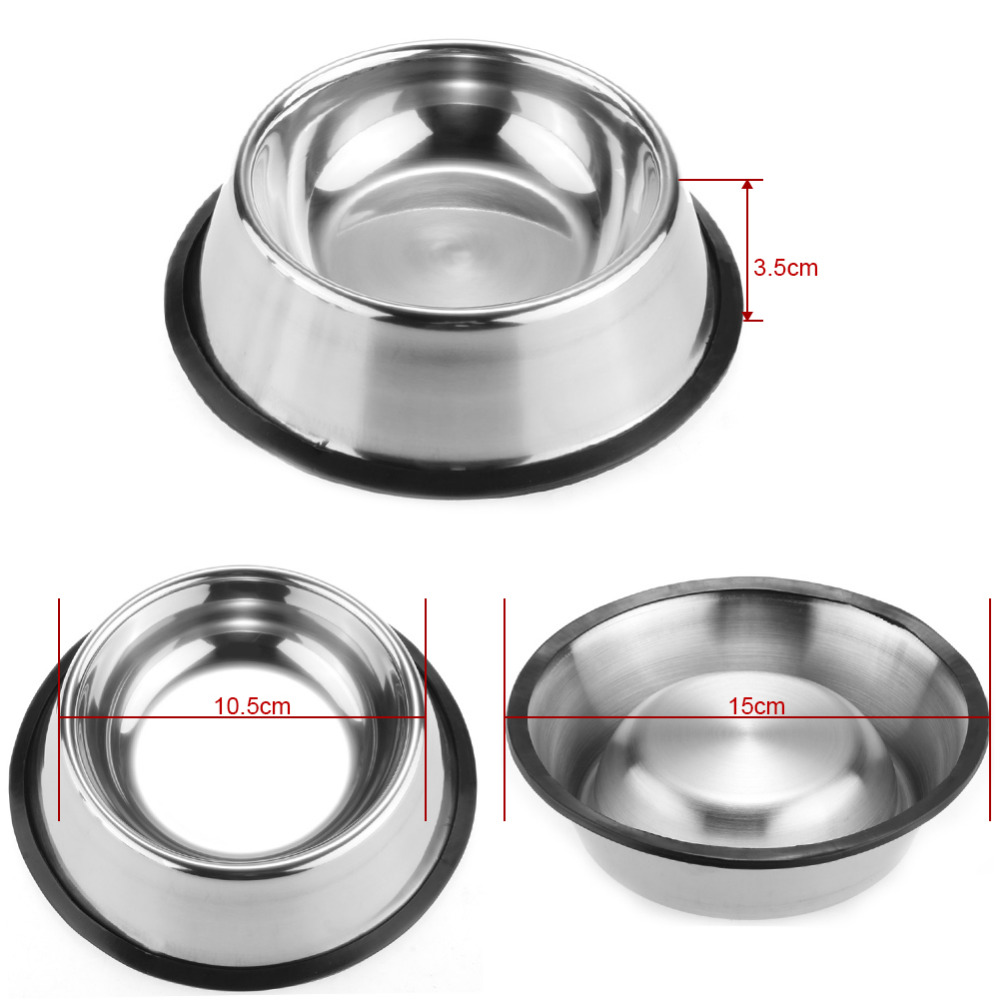Pet Dog Cat Bowl Puppy Kitten Stainless Steel Bowl Anti Slip Cats Puppy Travel Feeding Feeder Food And Water Dish Bowl Pet Bowls #2