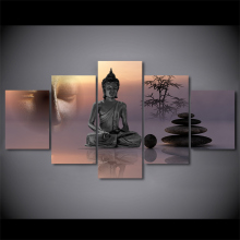 5 Panel Framed HD Printed Zen Buddha Statue Menditation Poster Canvas Oil Painting Wall Pictures For Living Room Arts